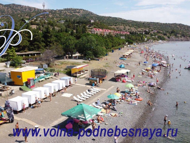 Вид с моря на пляж Канакской балки. Крым, г. Алушта, с. Приветное, Канака (Канакская балка).